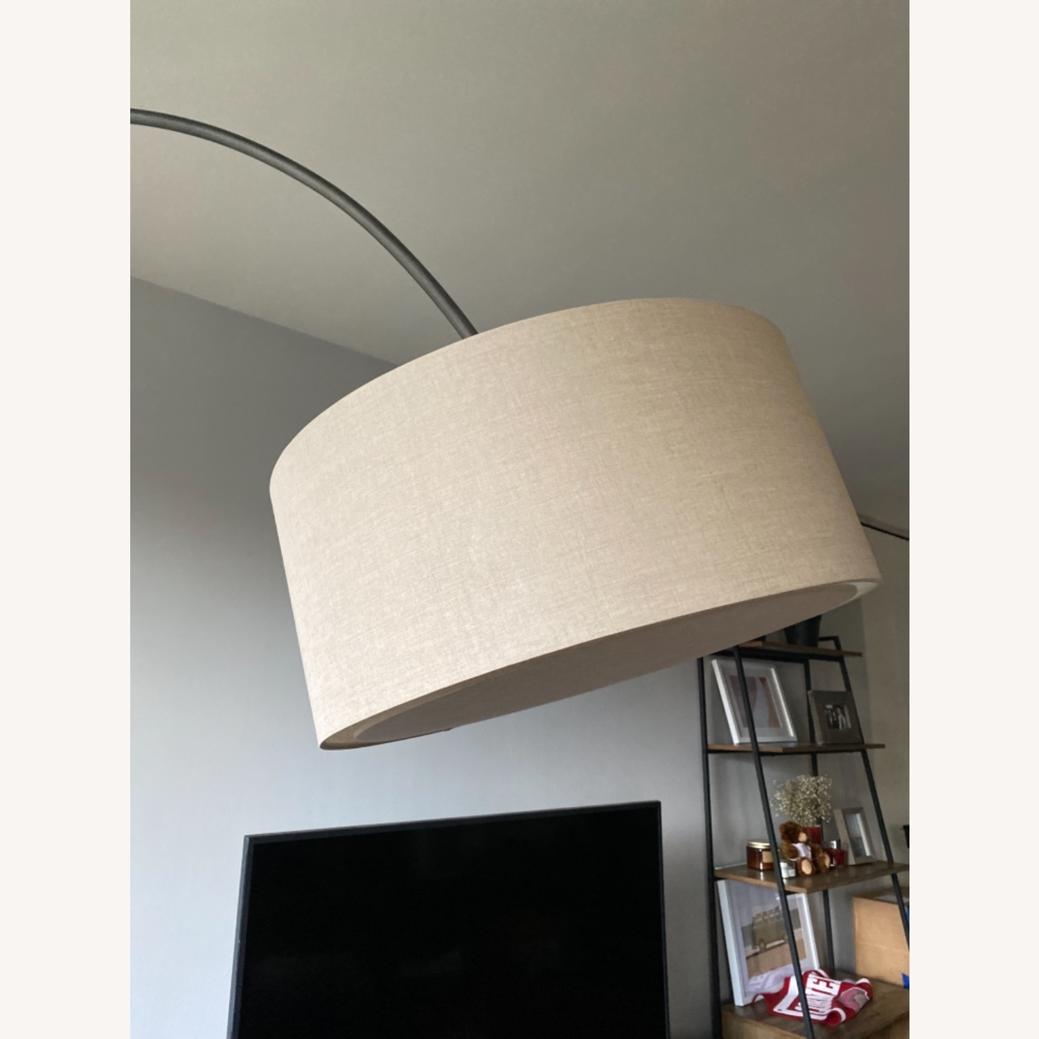 CB2 Arched Floor Lamp Beige Shade Concrete Base - image-6