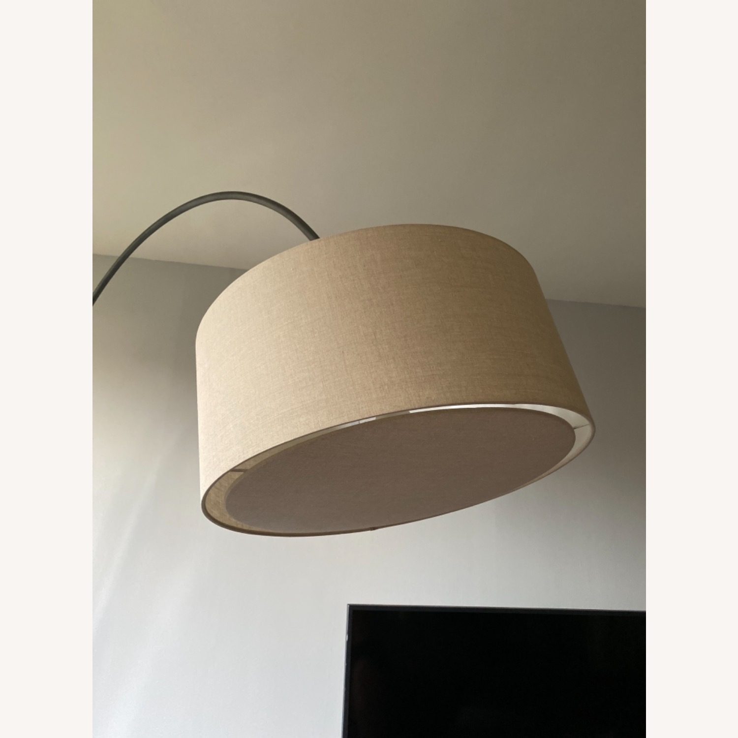 CB2 Arched Floor Lamp Beige Shade Concrete Base - image-3