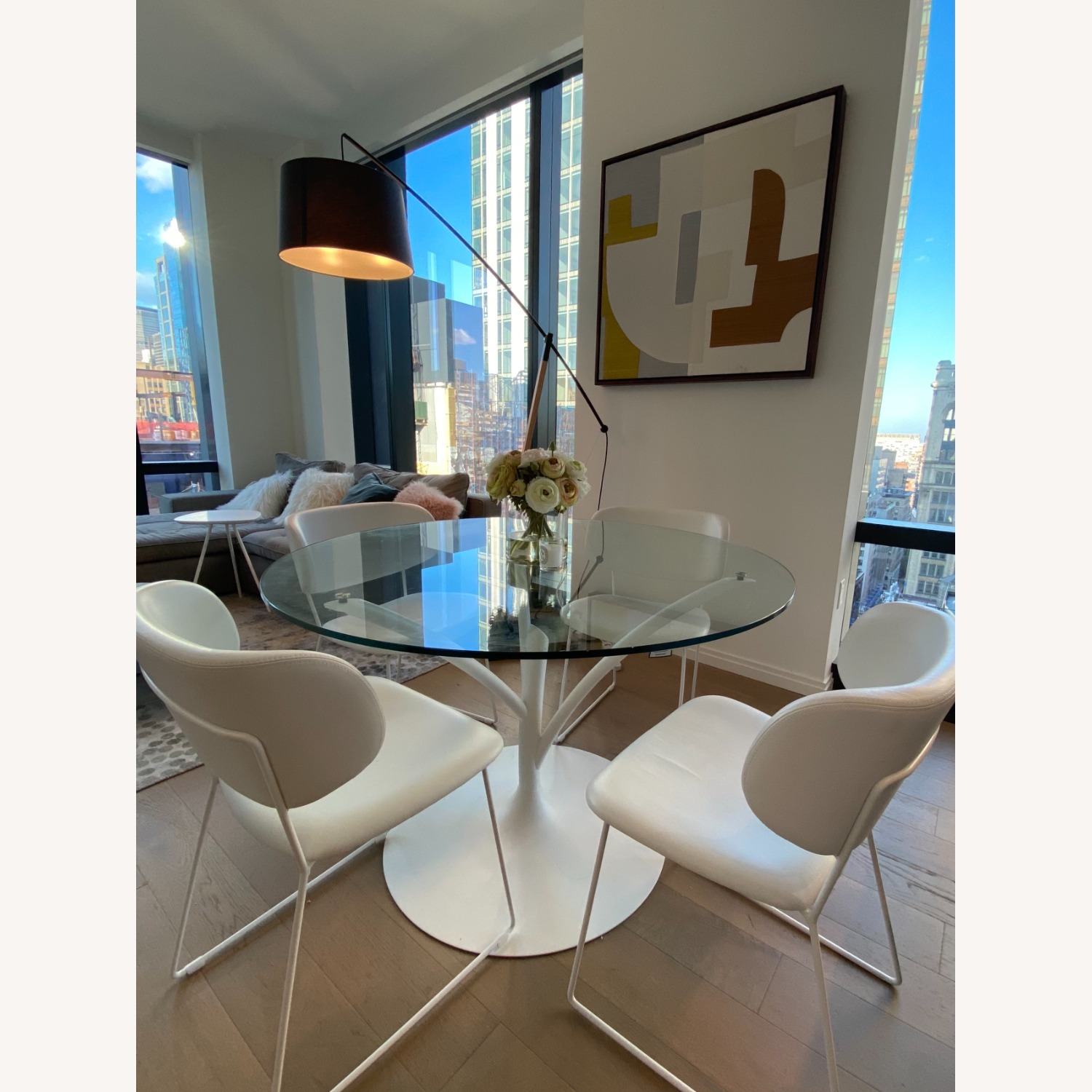 Calligaris Acacia Round Glass Table + 4 Claire Chairs - image-1