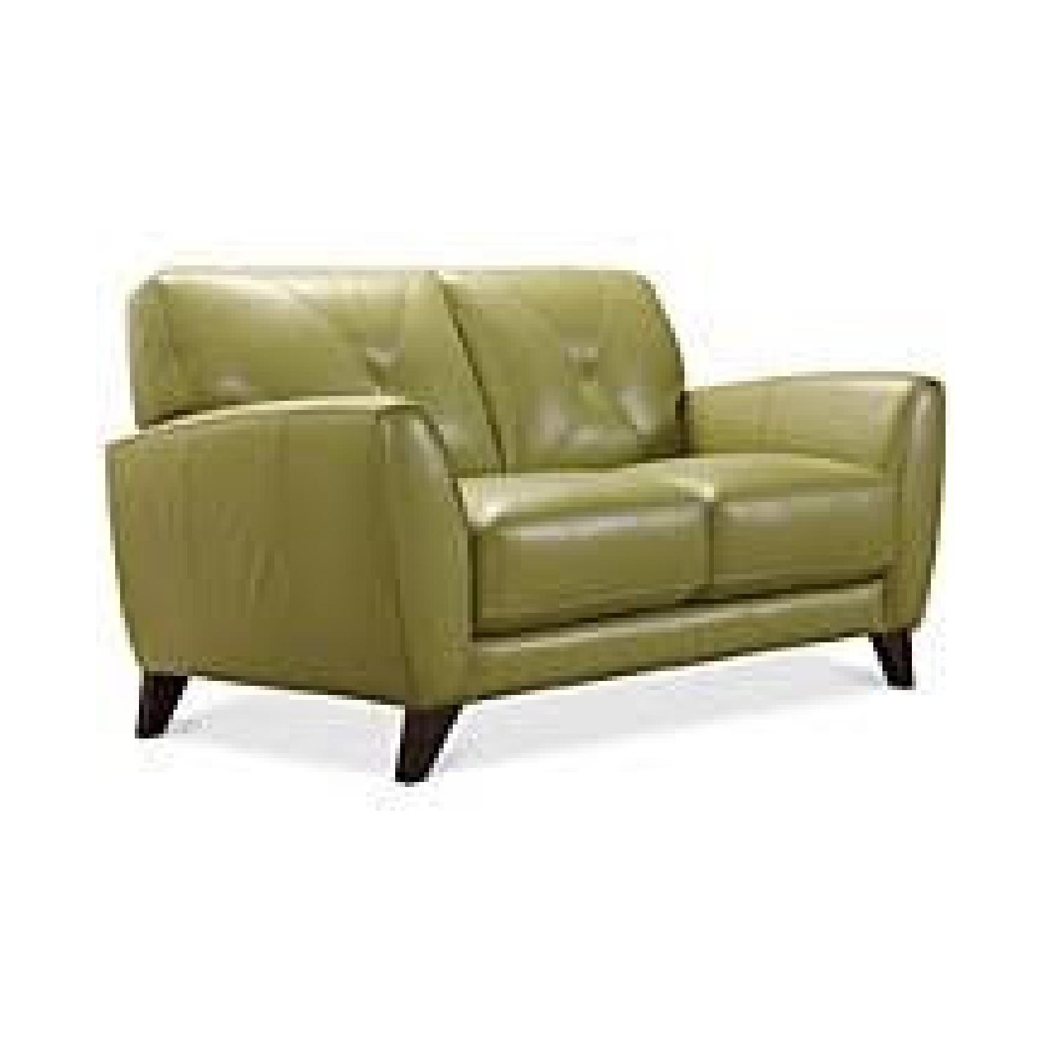 Macy's light Green Leather Couch - image-5