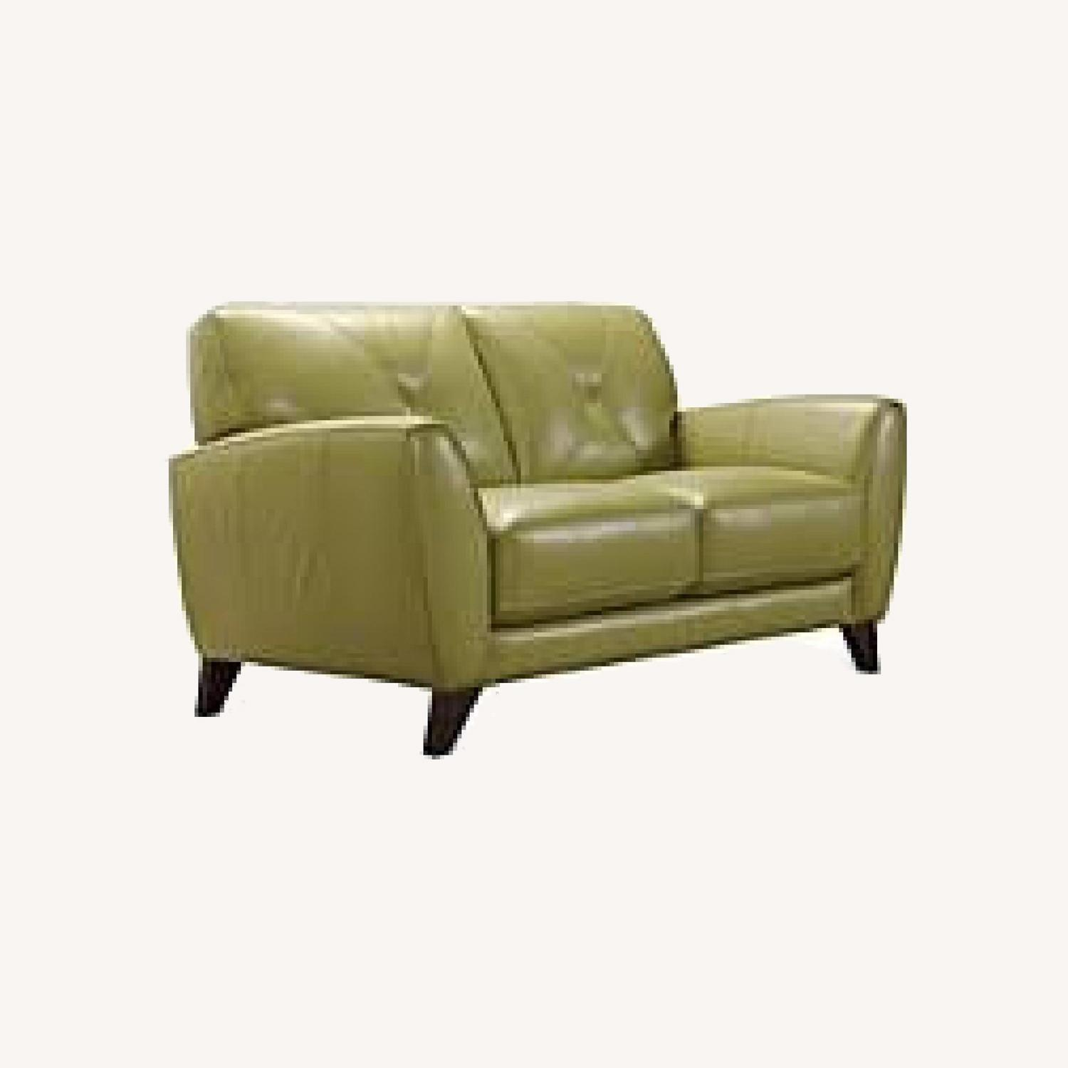 Macy's light Green Leather Couch - image-0