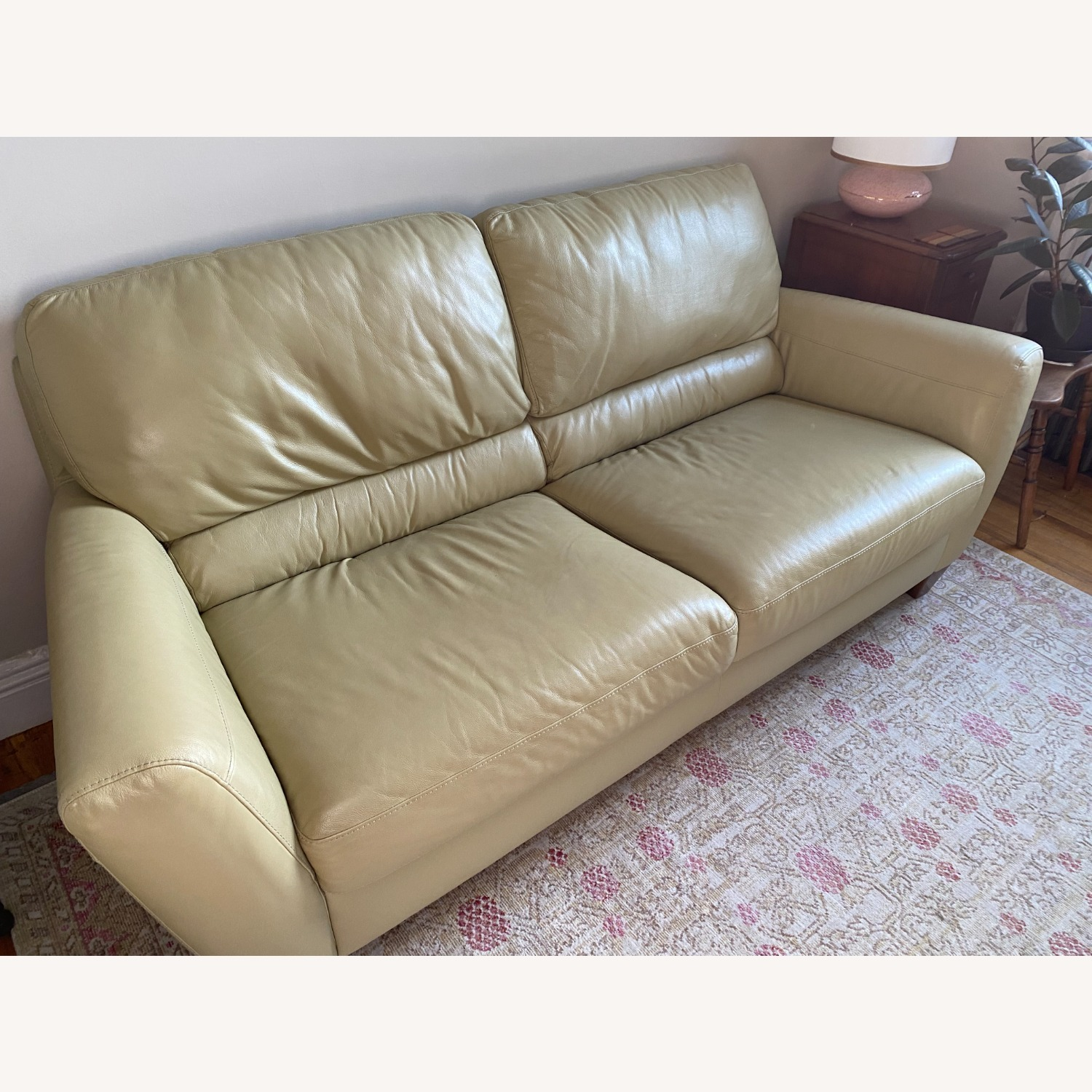 Macy's light Green Leather Couch - image-4
