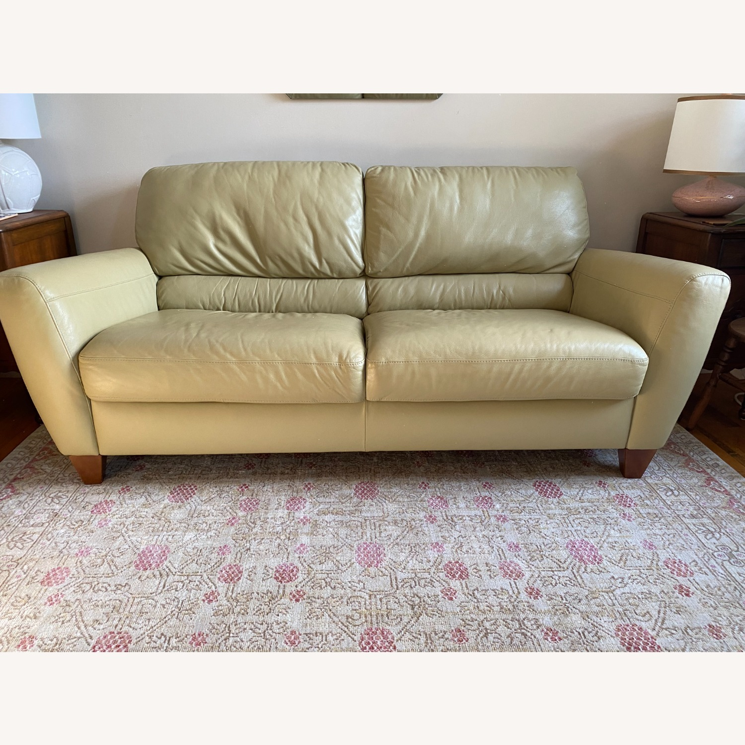 Macy's light Green Leather Couch - image-1
