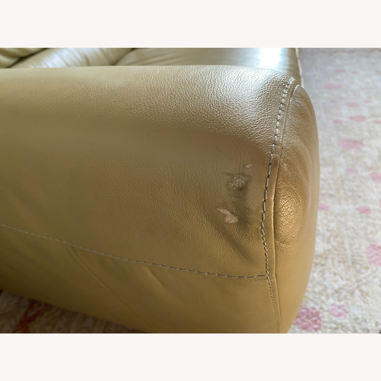 Macy's light Green Leather Couch - image-3