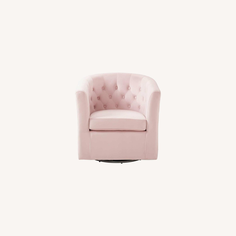Swivel Armchair In Pink Performance Velvet Fabric - image-7