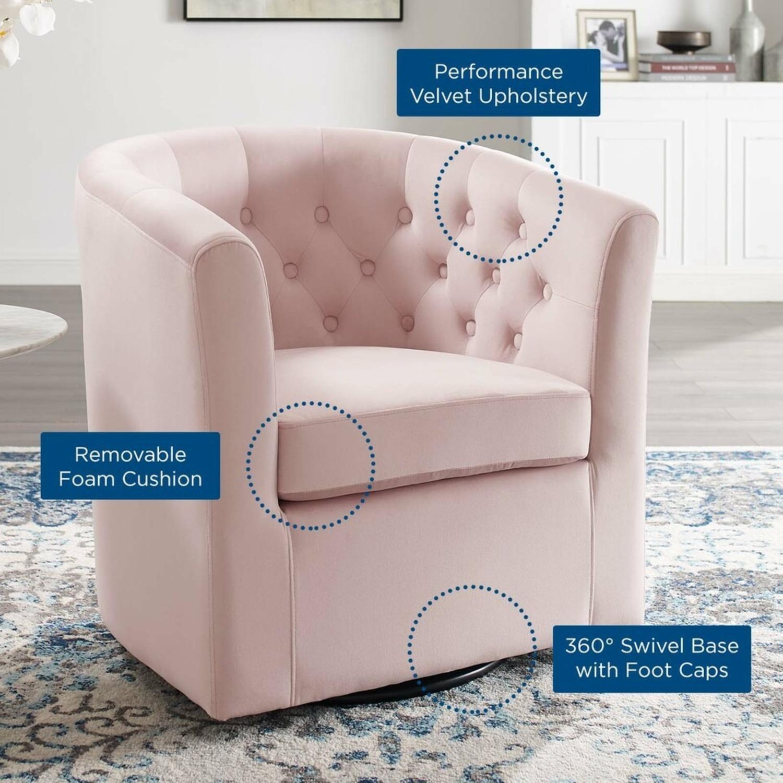 Swivel Armchair In Pink Performance Velvet Fabric - image-5
