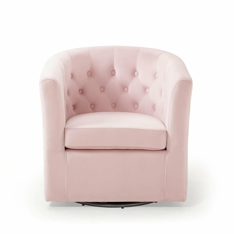 Swivel Armchair In Pink Performance Velvet Fabric - image-0