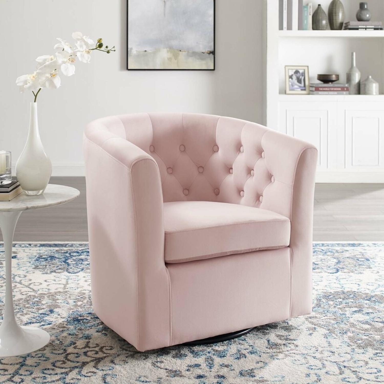 Swivel Armchair In Pink Performance Velvet Fabric - image-6
