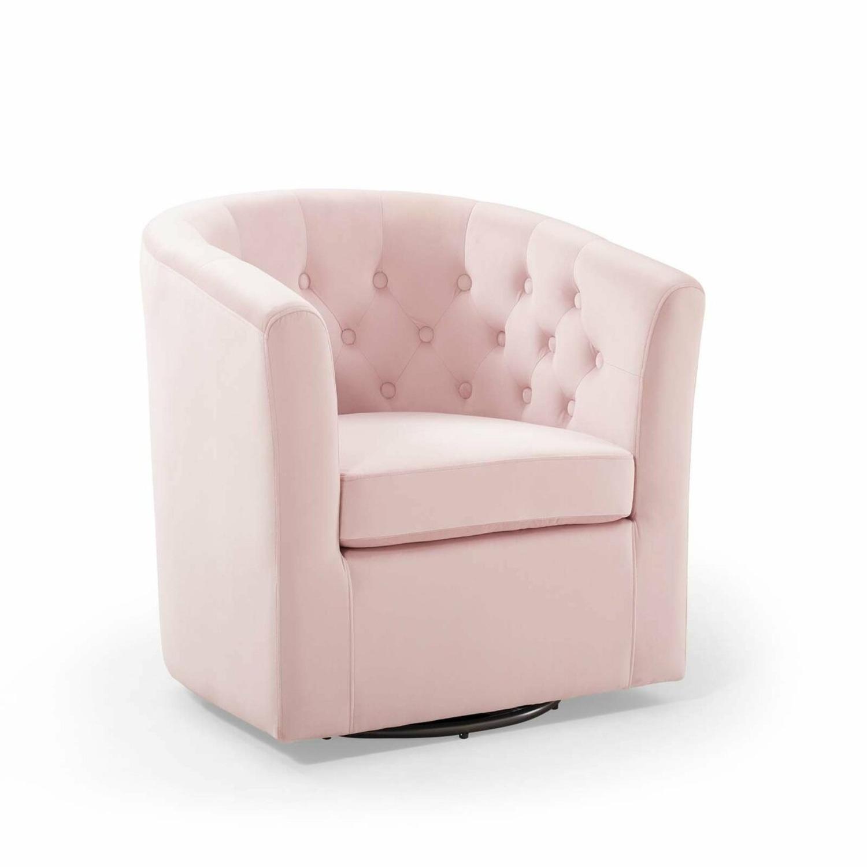 Swivel Armchair In Pink Performance Velvet Fabric - image-1