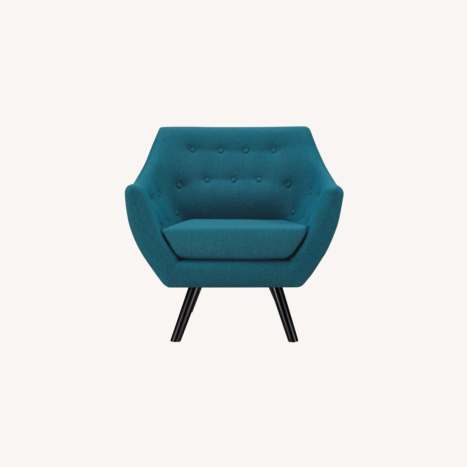 Armchair In Teal Fabric & Tufted Button Upholstery - image-6