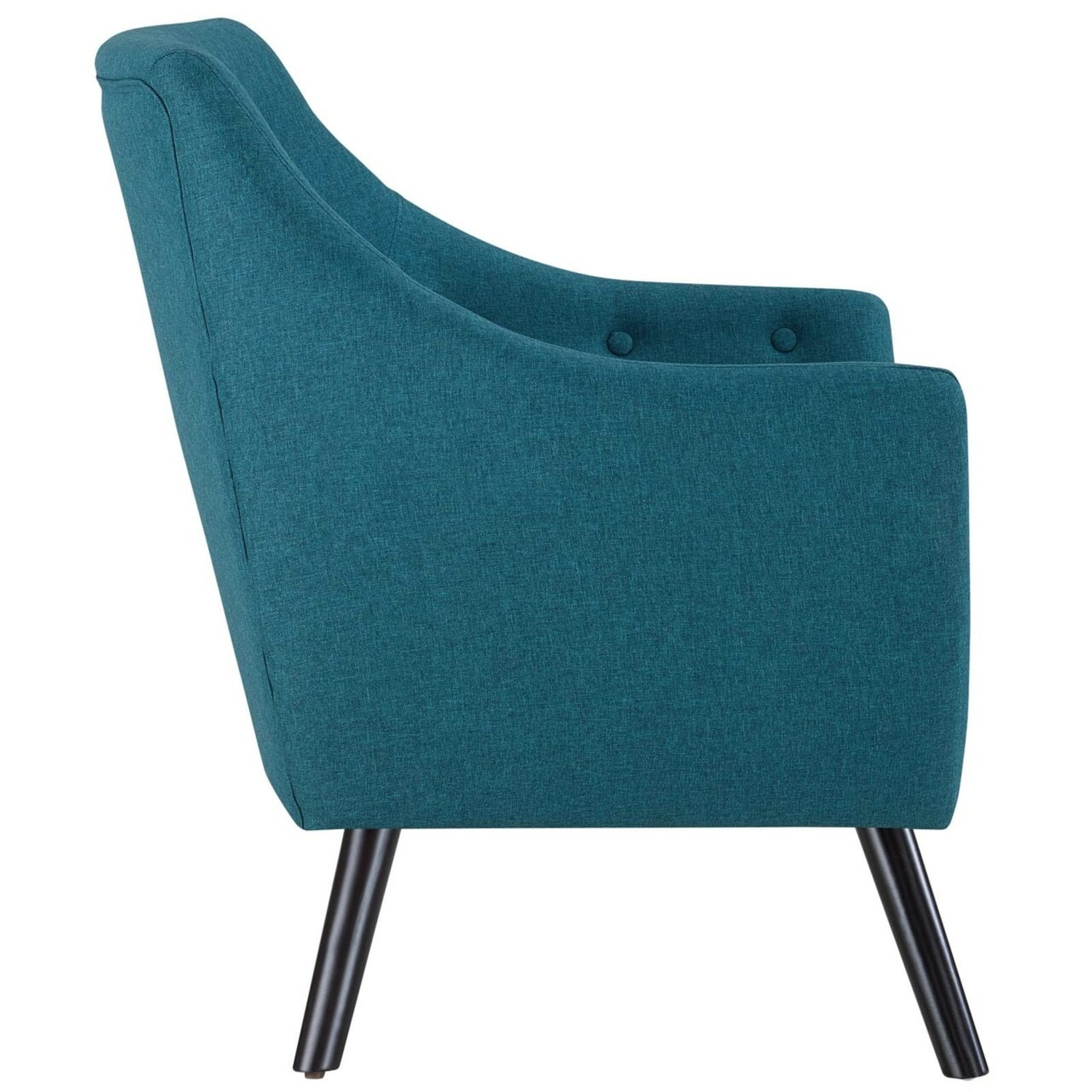 Armchair In Teal Fabric & Tufted Button Upholstery - image-2