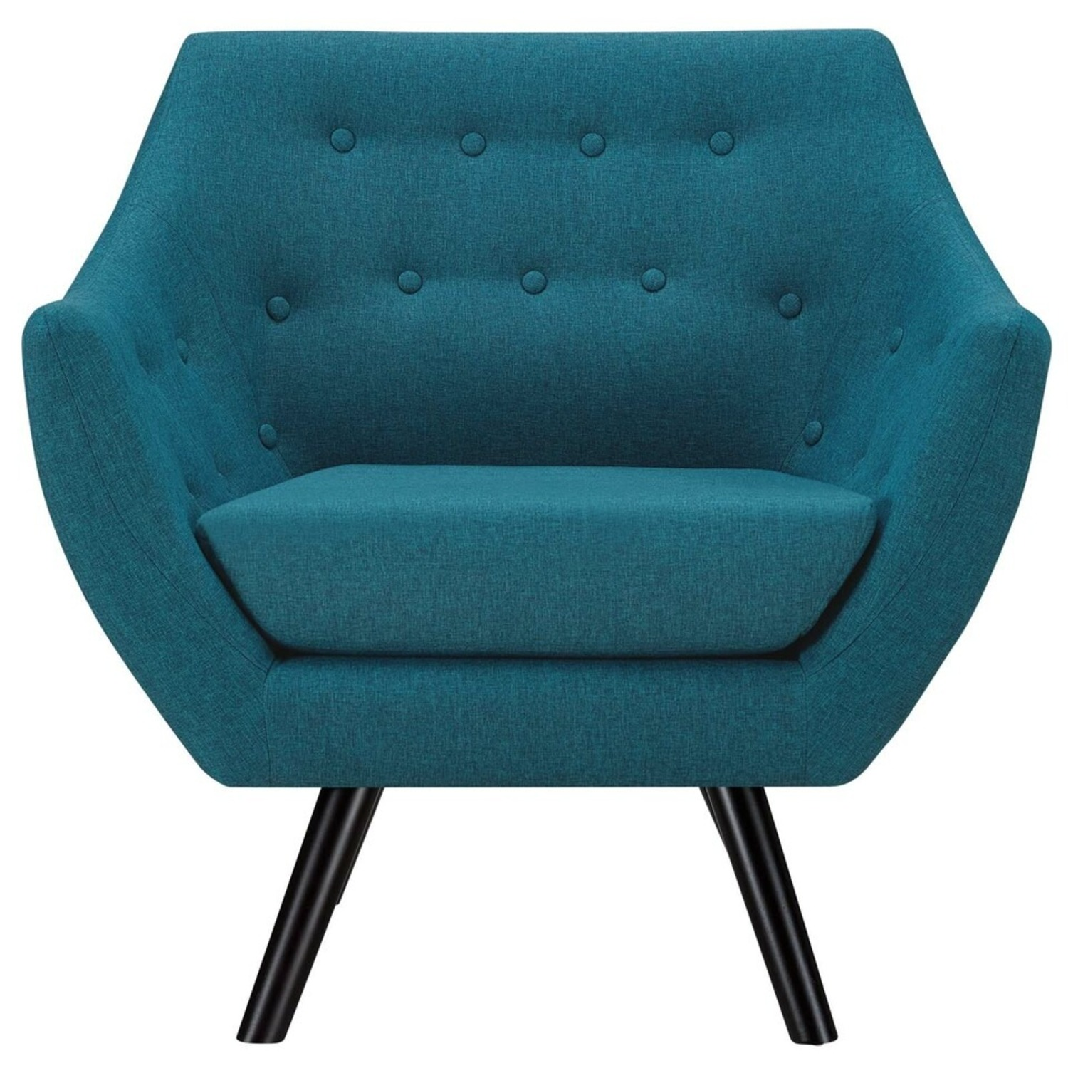 Armchair In Teal Fabric & Tufted Button Upholstery - image-0