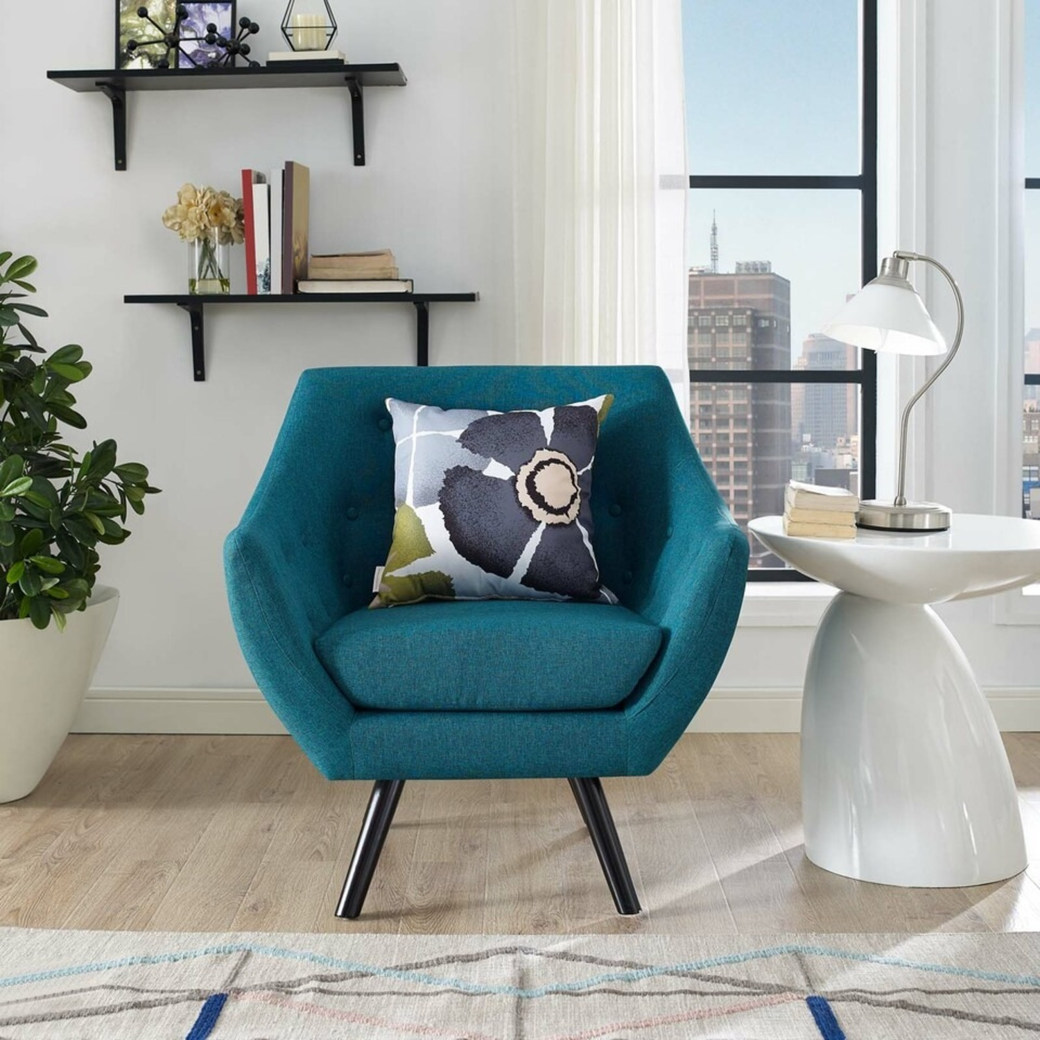 Armchair In Teal Fabric & Tufted Button Upholstery - image-4