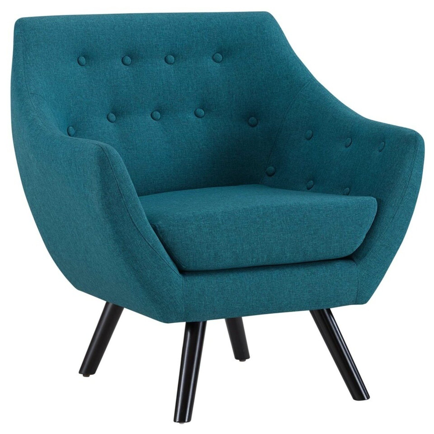 Armchair In Teal Fabric & Tufted Button Upholstery - image-1