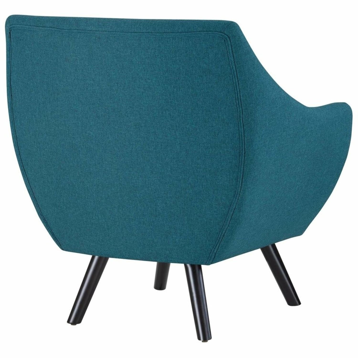 Armchair In Teal Fabric & Tufted Button Upholstery - image-3