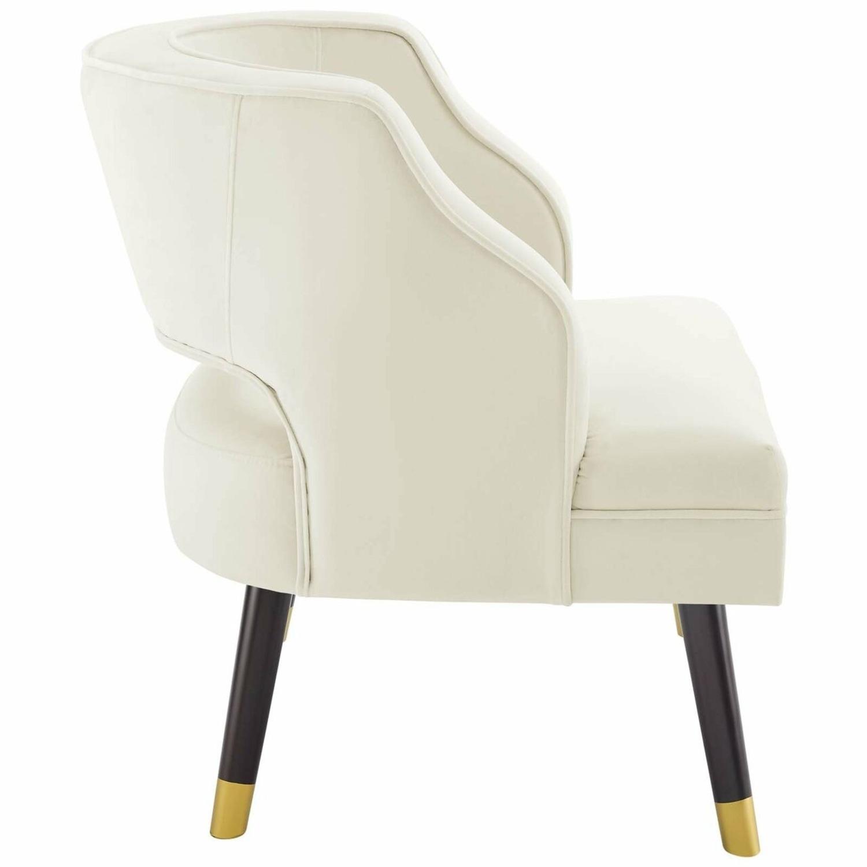 Armchair In Ivory Performance Velvet Upholstery - image-2