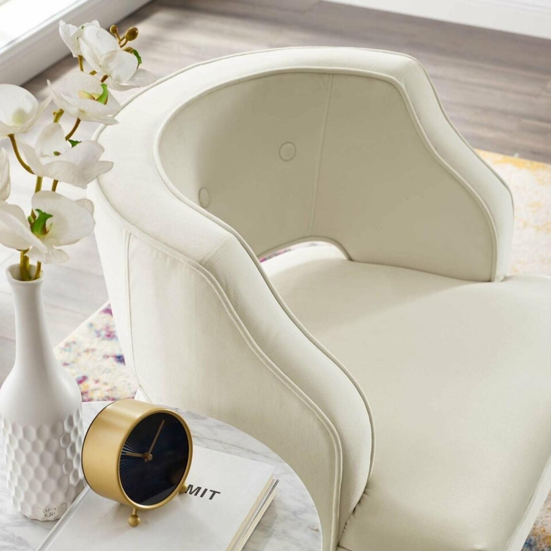 Armchair In Ivory Performance Velvet Upholstery - image-5