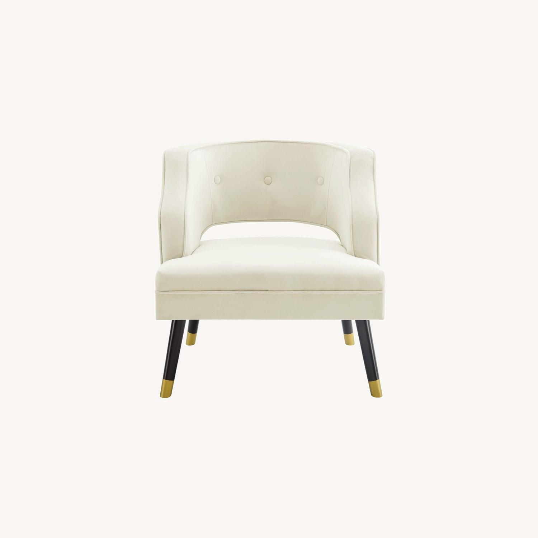 Armchair In Ivory Performance Velvet Upholstery - image-8
