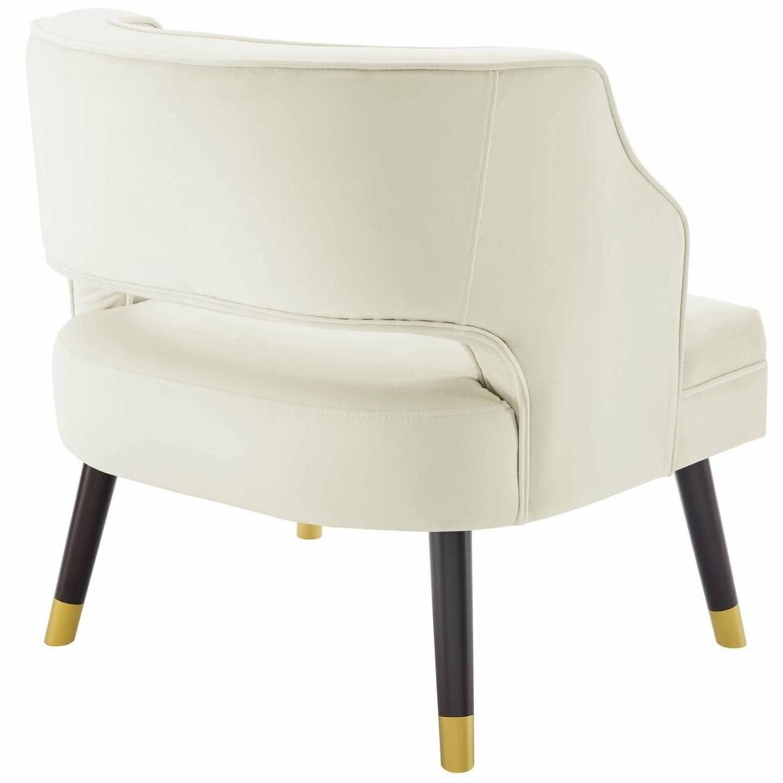 Armchair In Ivory Performance Velvet Upholstery - image-3