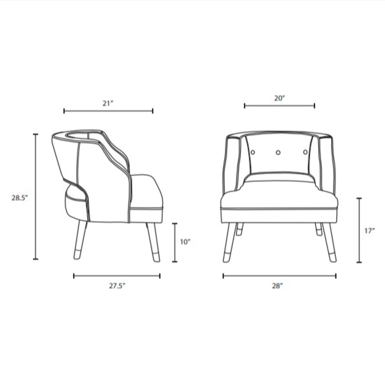 Armchair In Ivory Performance Velvet Upholstery - image-7