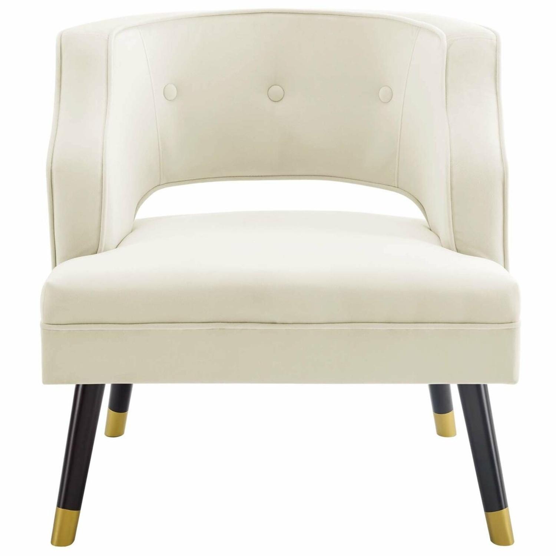 Armchair In Ivory Performance Velvet Upholstery - image-0