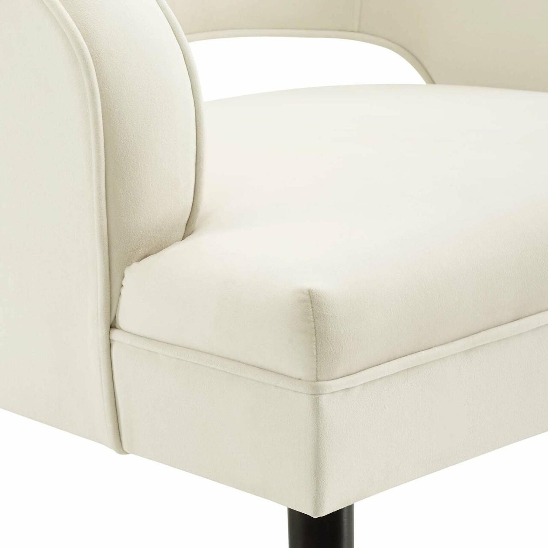 Armchair In Ivory Performance Velvet Upholstery - image-4