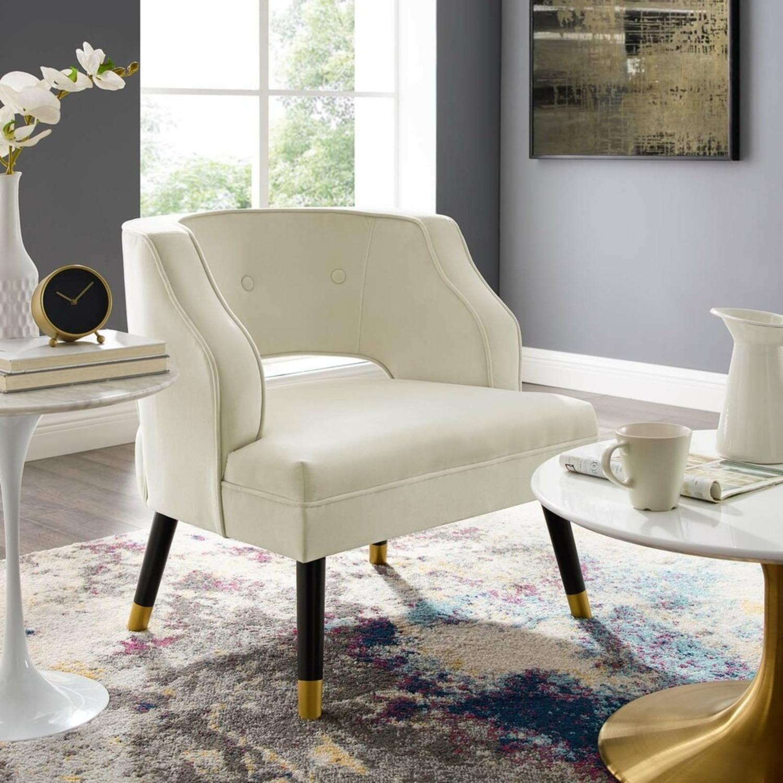 Armchair In Ivory Performance Velvet Upholstery - image-6