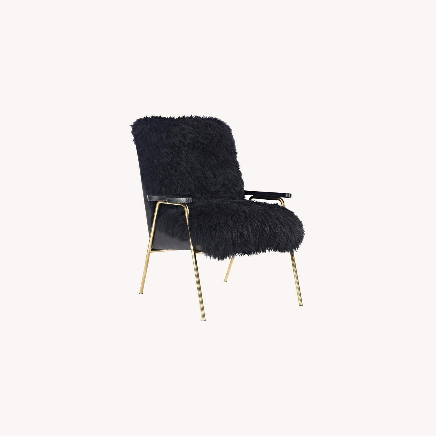 Armchair In Black Sheepskin Fabric Upholstery - image-5