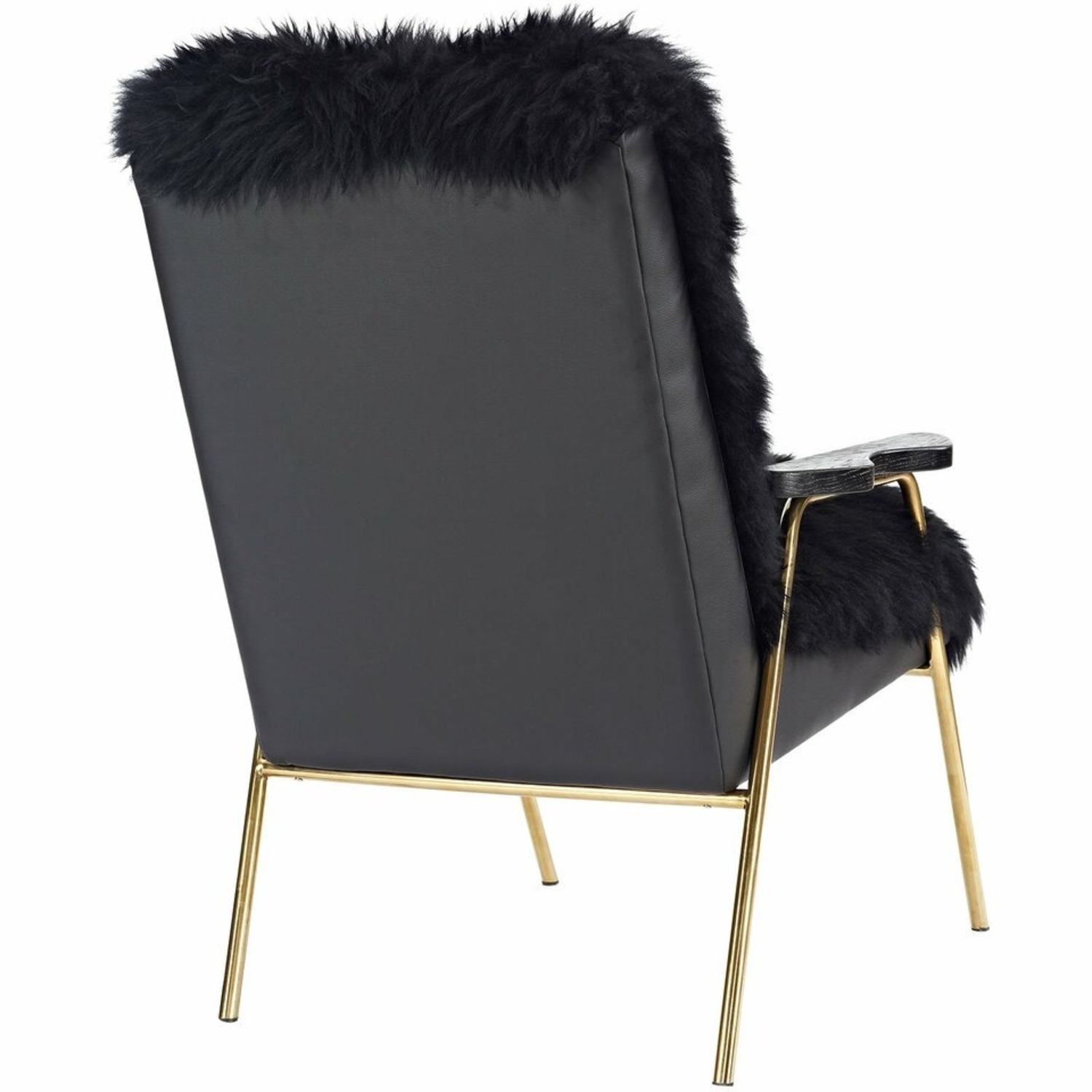 Armchair In Black Sheepskin Fabric Upholstery - image-2