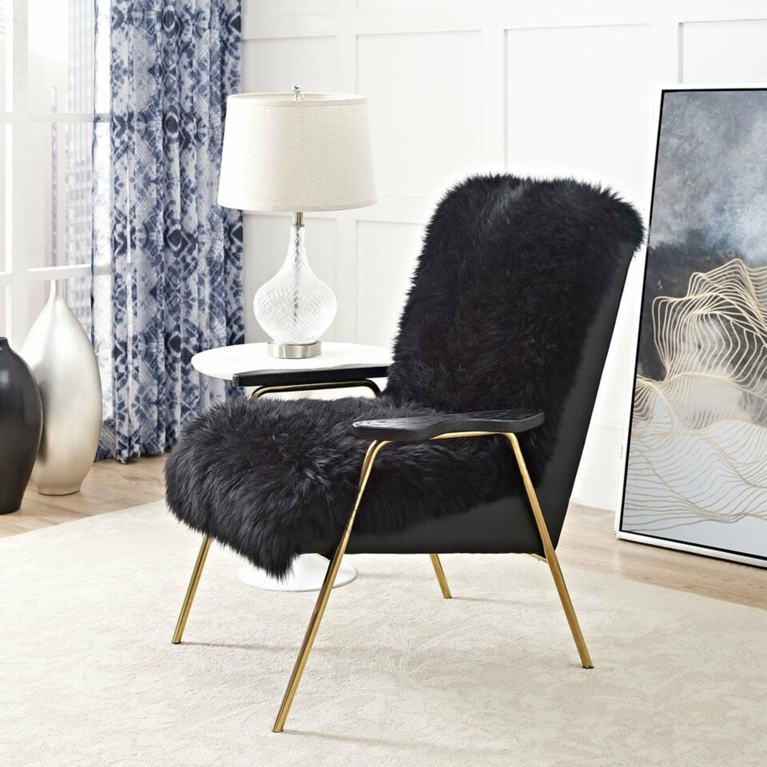 Armchair In Black Sheepskin Fabric Upholstery - image-3