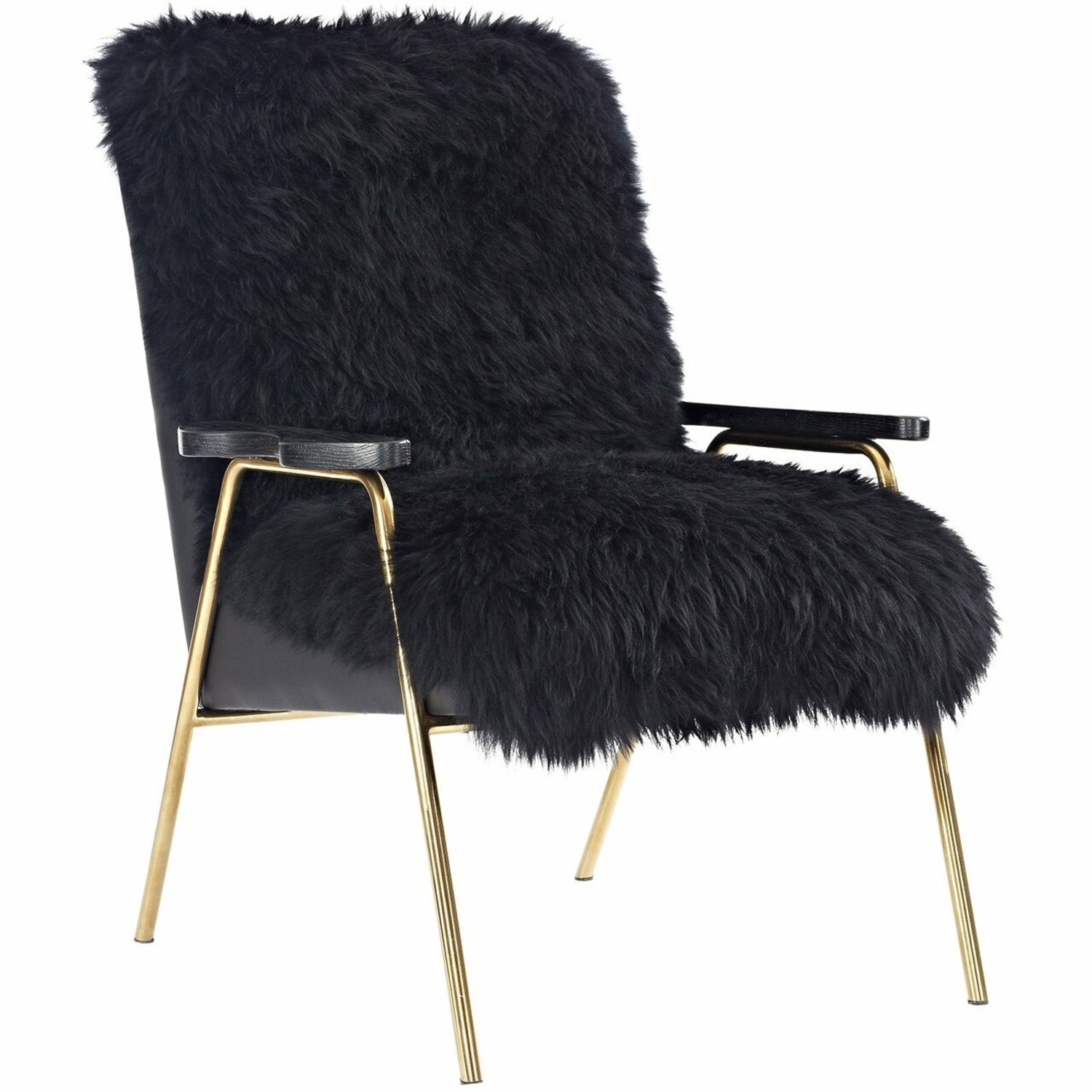 Armchair In Black Sheepskin Fabric Upholstery - image-0