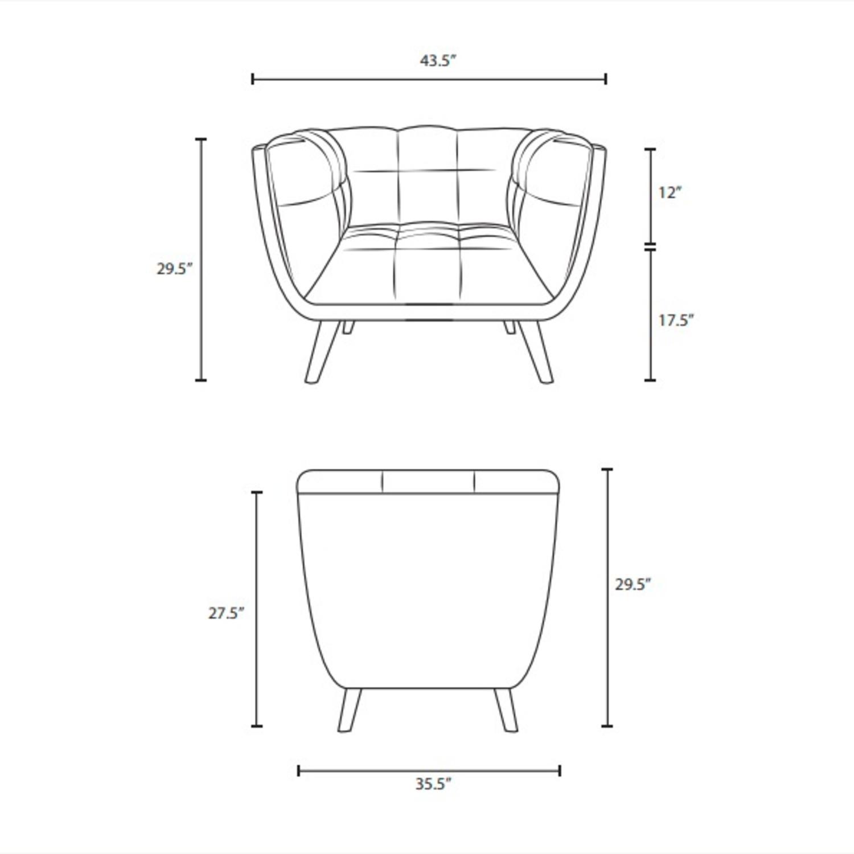 Armchair In Gray Velvet & Tufted Button Upholstery - image-4