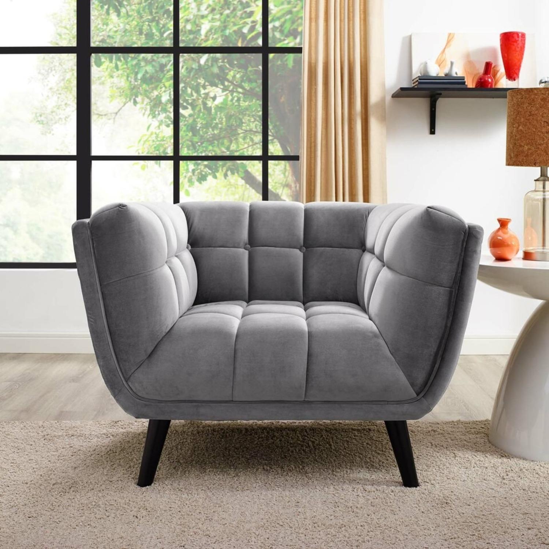 Armchair In Gray Velvet & Tufted Button Upholstery - image-3