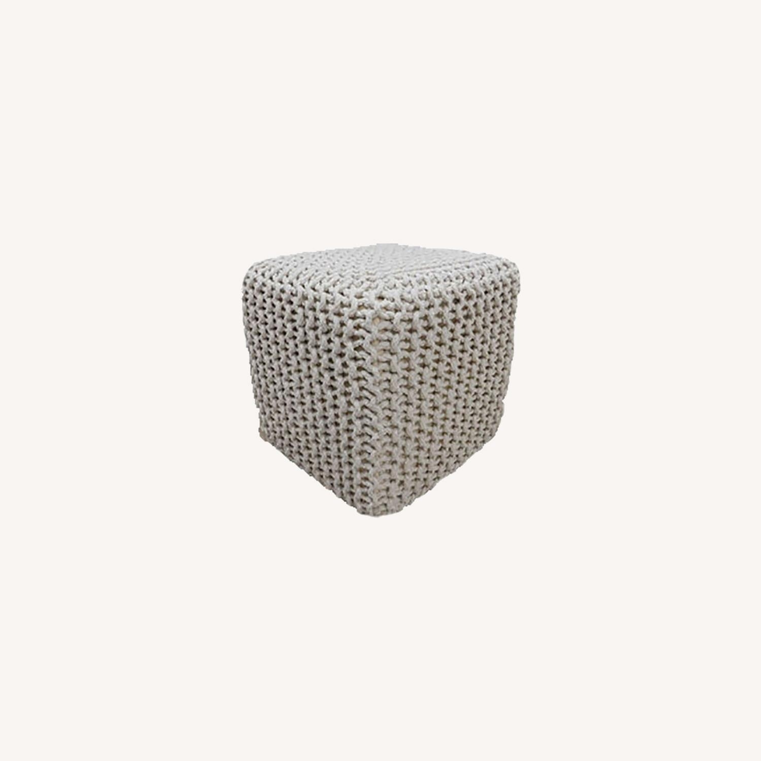 Chicklet Cotton Knitted Pouf 15in Ottoman Ottoman - image-0