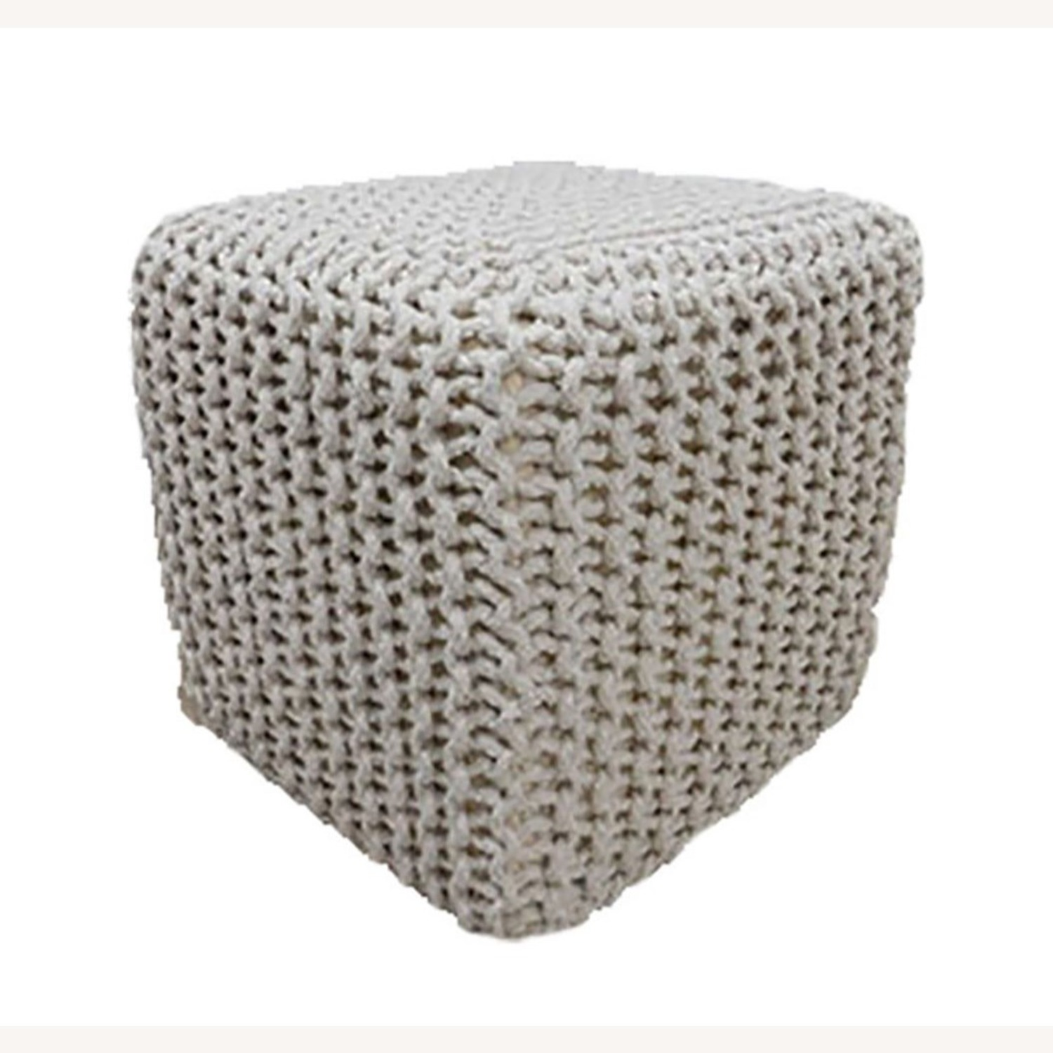 Chicklet Cotton Knitted Pouf 15in Ottoman Ottoman - image-2