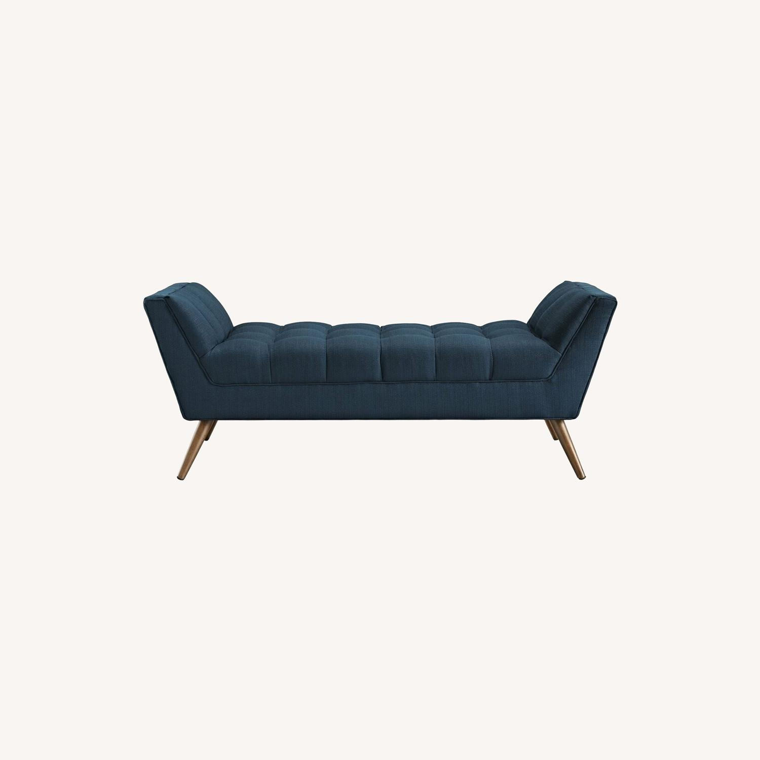 Bench In Tufted Azure Fabric Upholstery Finish - image-7