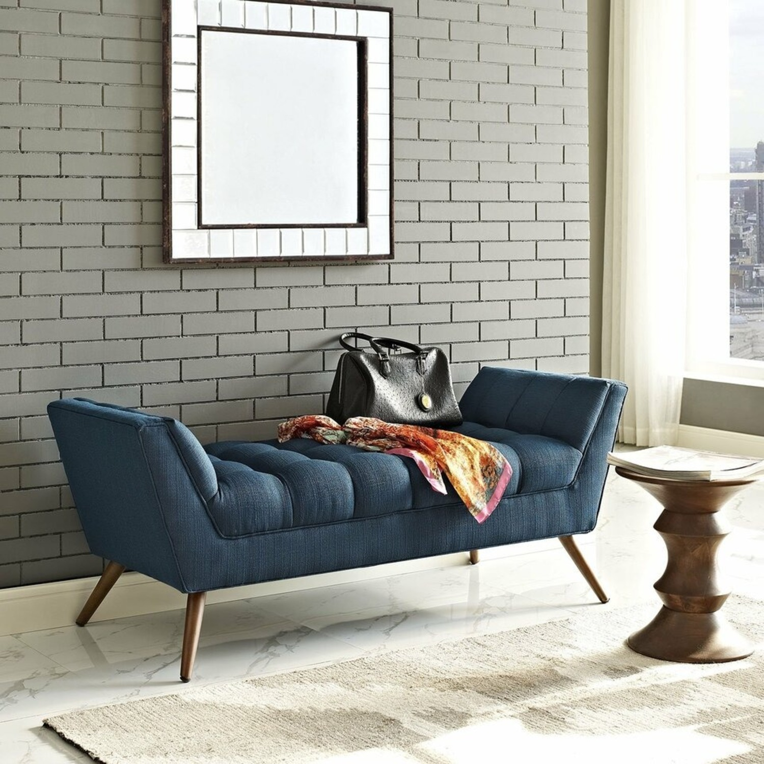 Bench In Tufted Azure Fabric Upholstery Finish - image-4