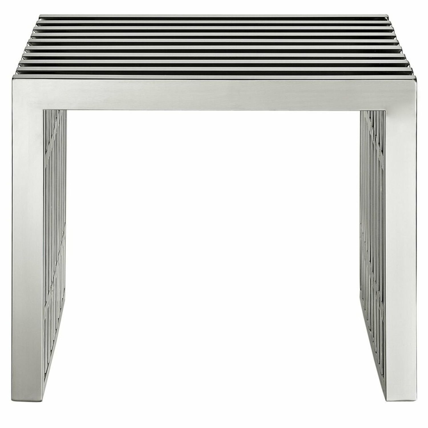 Bench In Stainless Silver Steel Finish - image-1