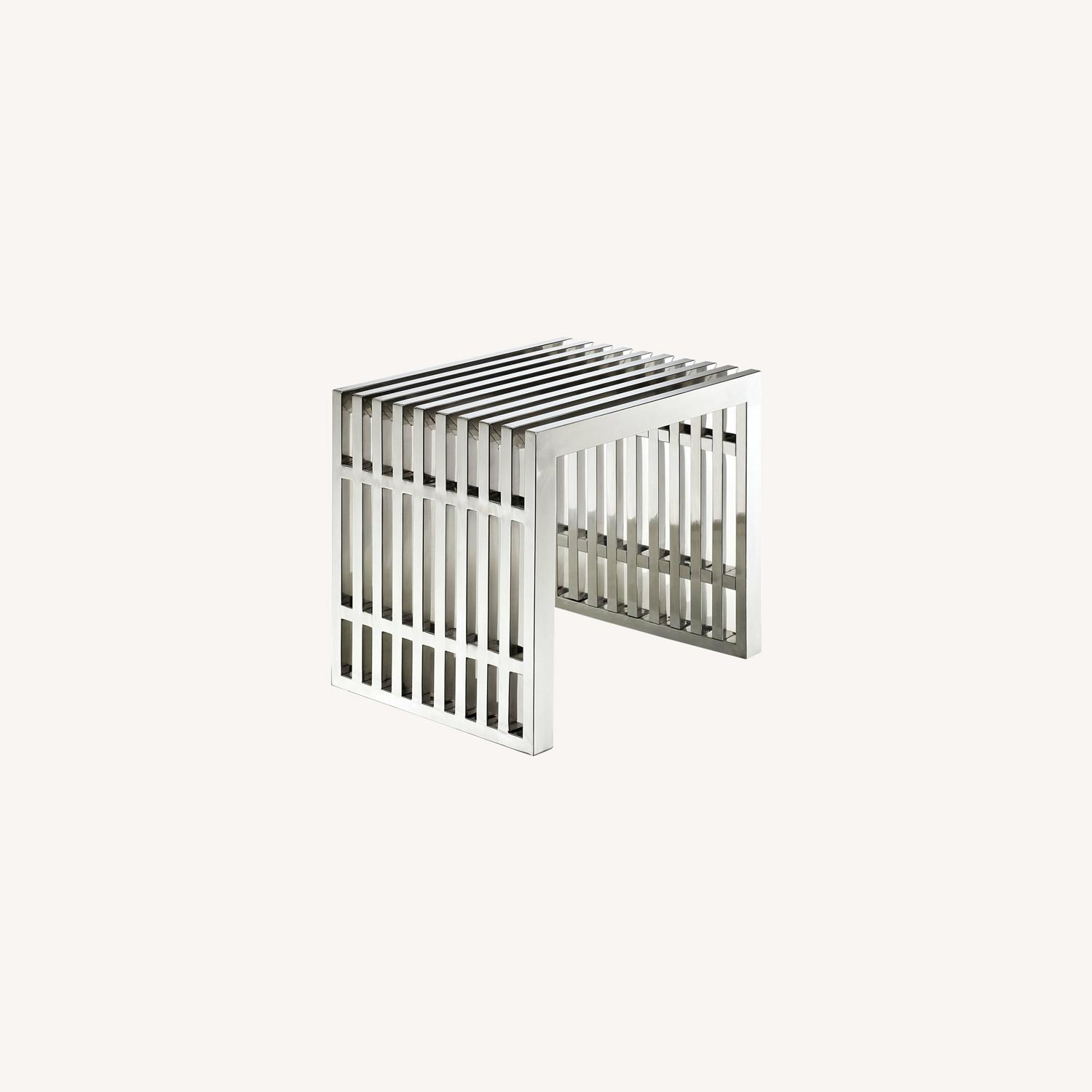 Bench In Stainless Silver Steel Finish - image-5