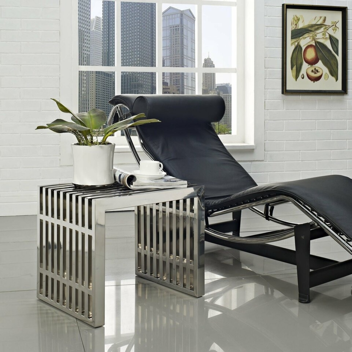 Bench In Stainless Silver Steel Finish - image-3