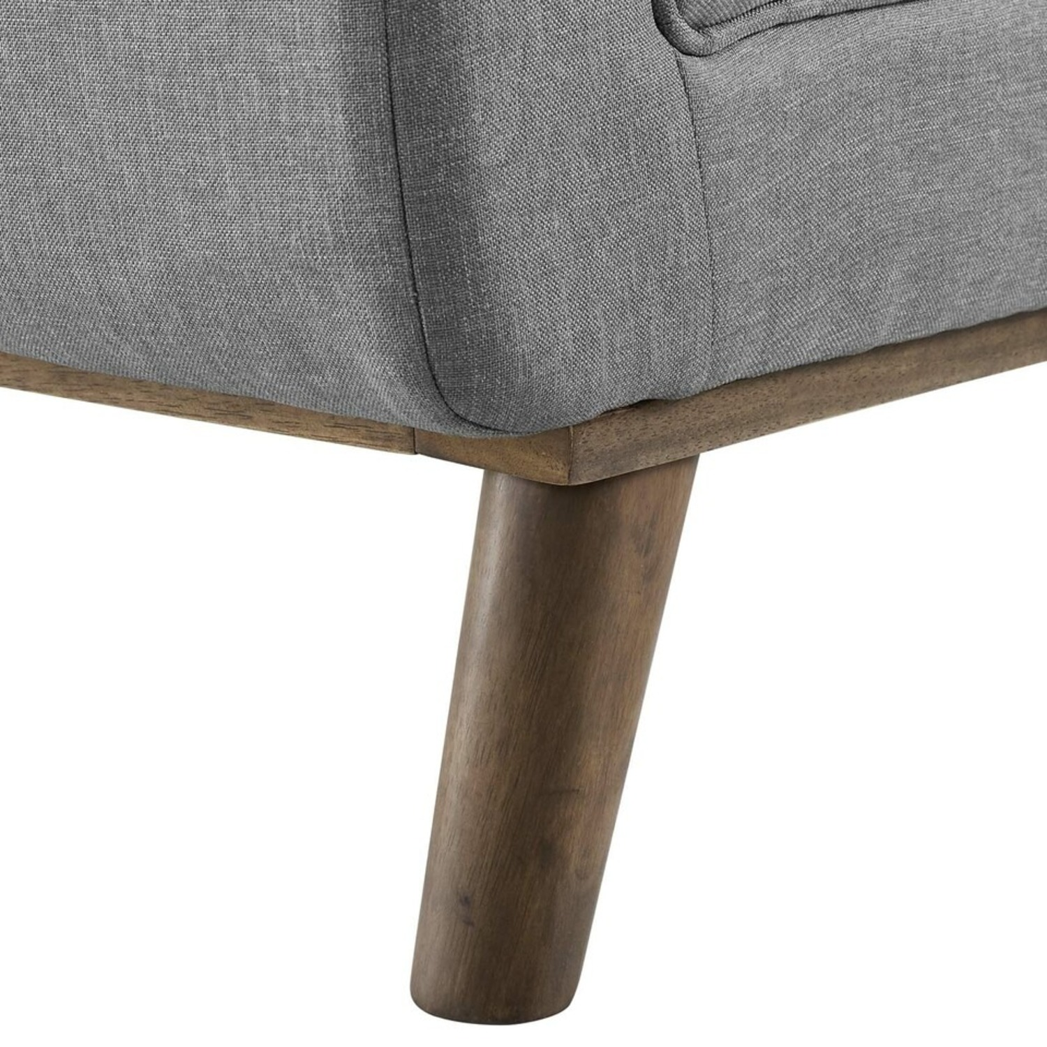 Accent Bench In Tufted Light Gray Fabric Finish - image-4