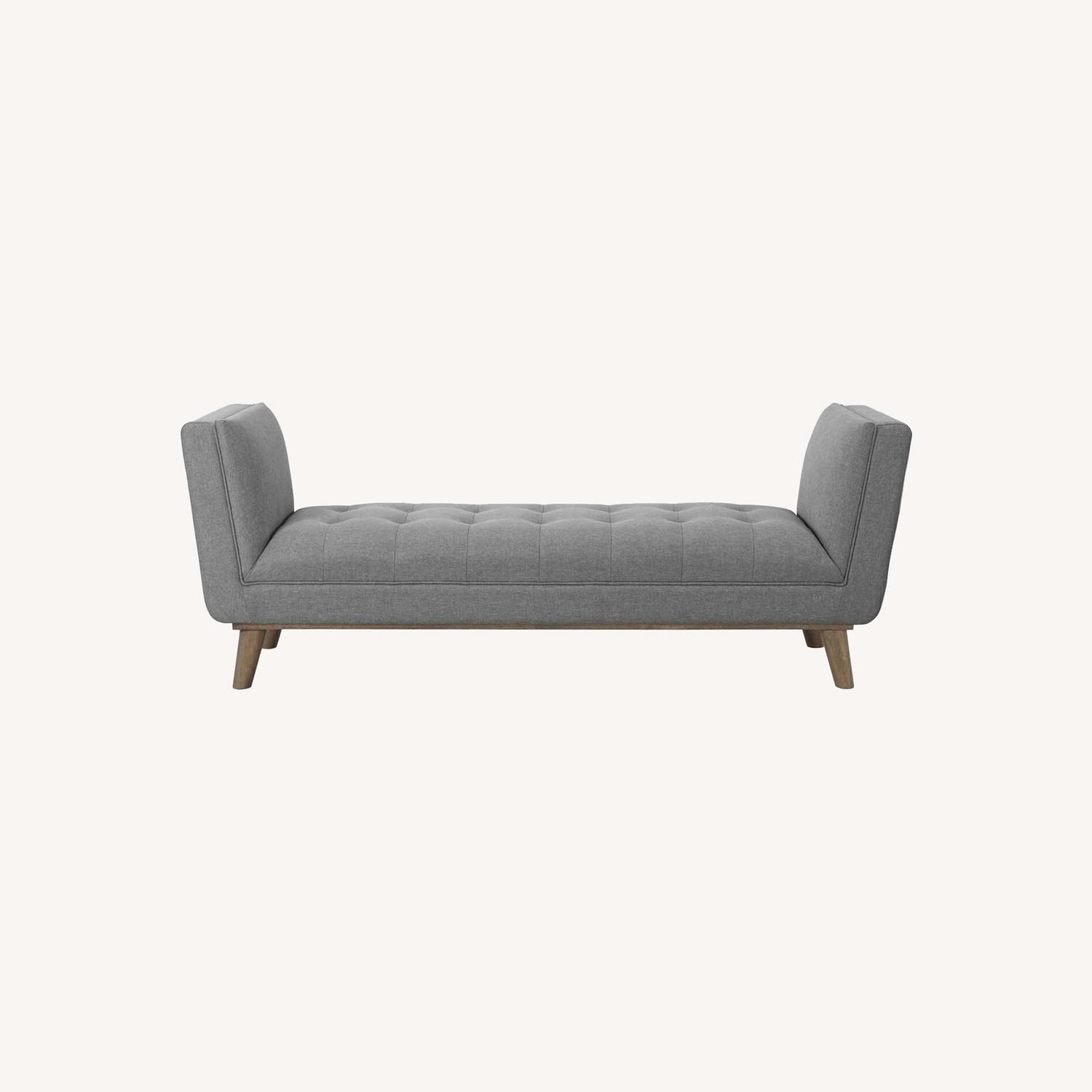 Accent Bench In Tufted Light Gray Fabric Finish - image-7