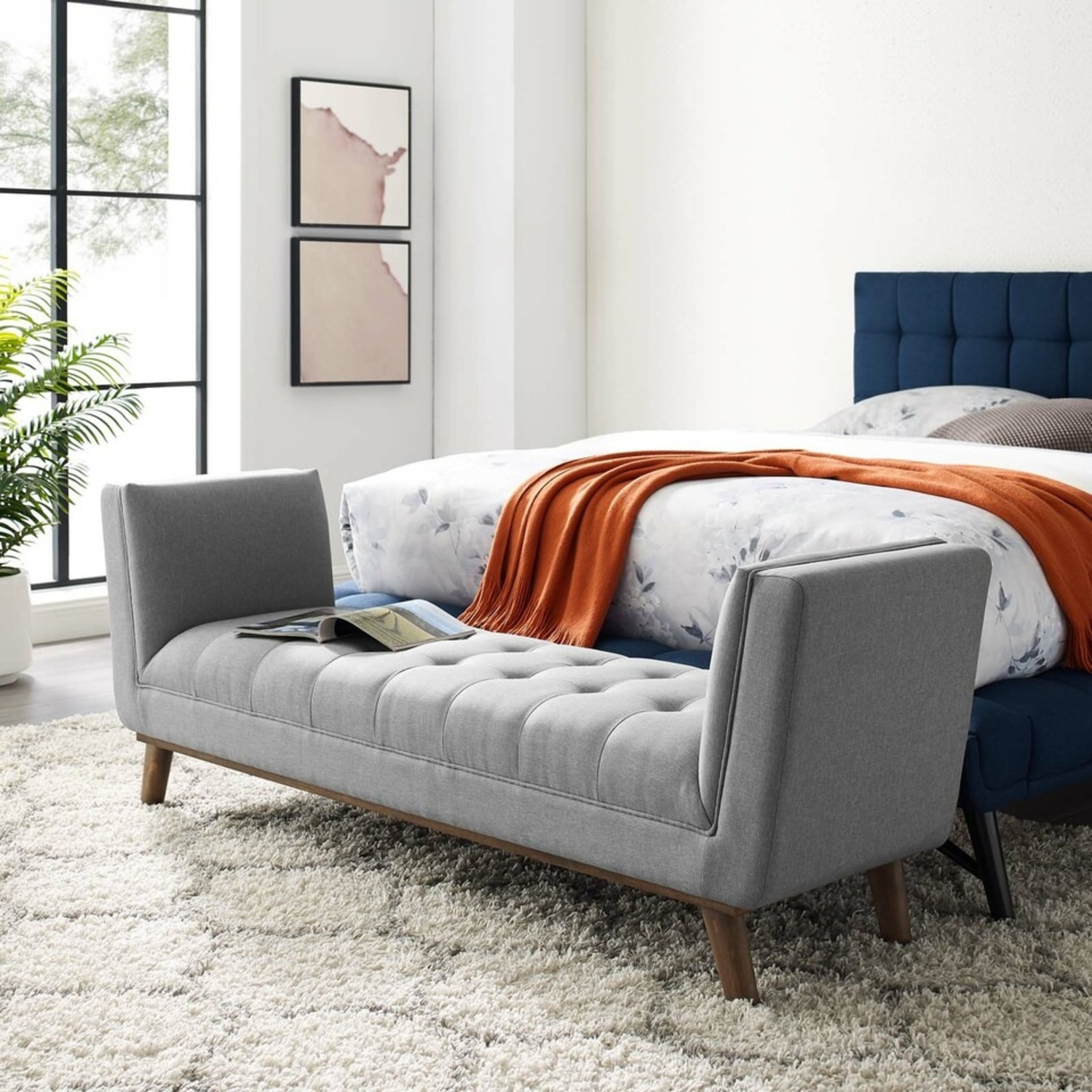 Accent Bench In Tufted Light Gray Fabric Finish - image-5