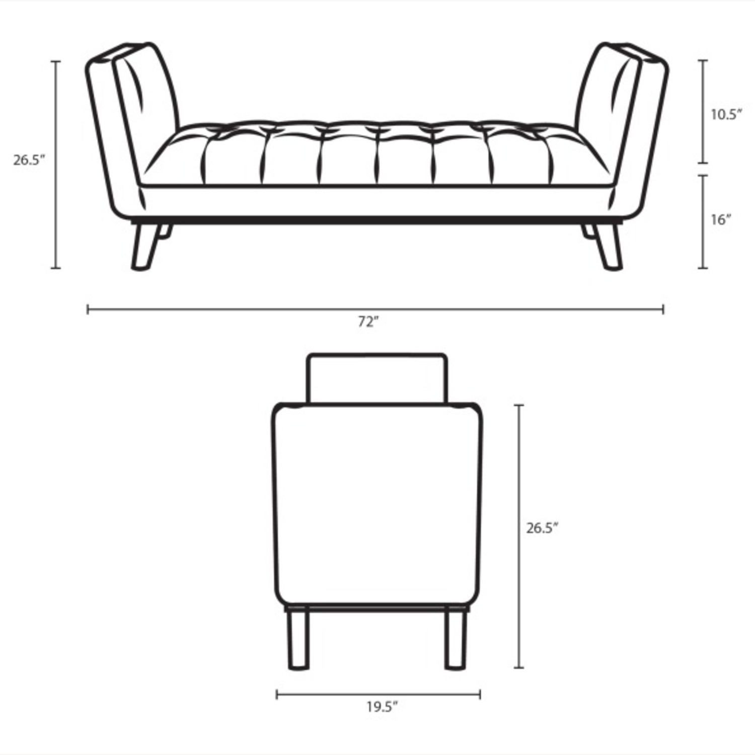 Accent Bench In Tufted Light Gray Fabric Finish - image-6