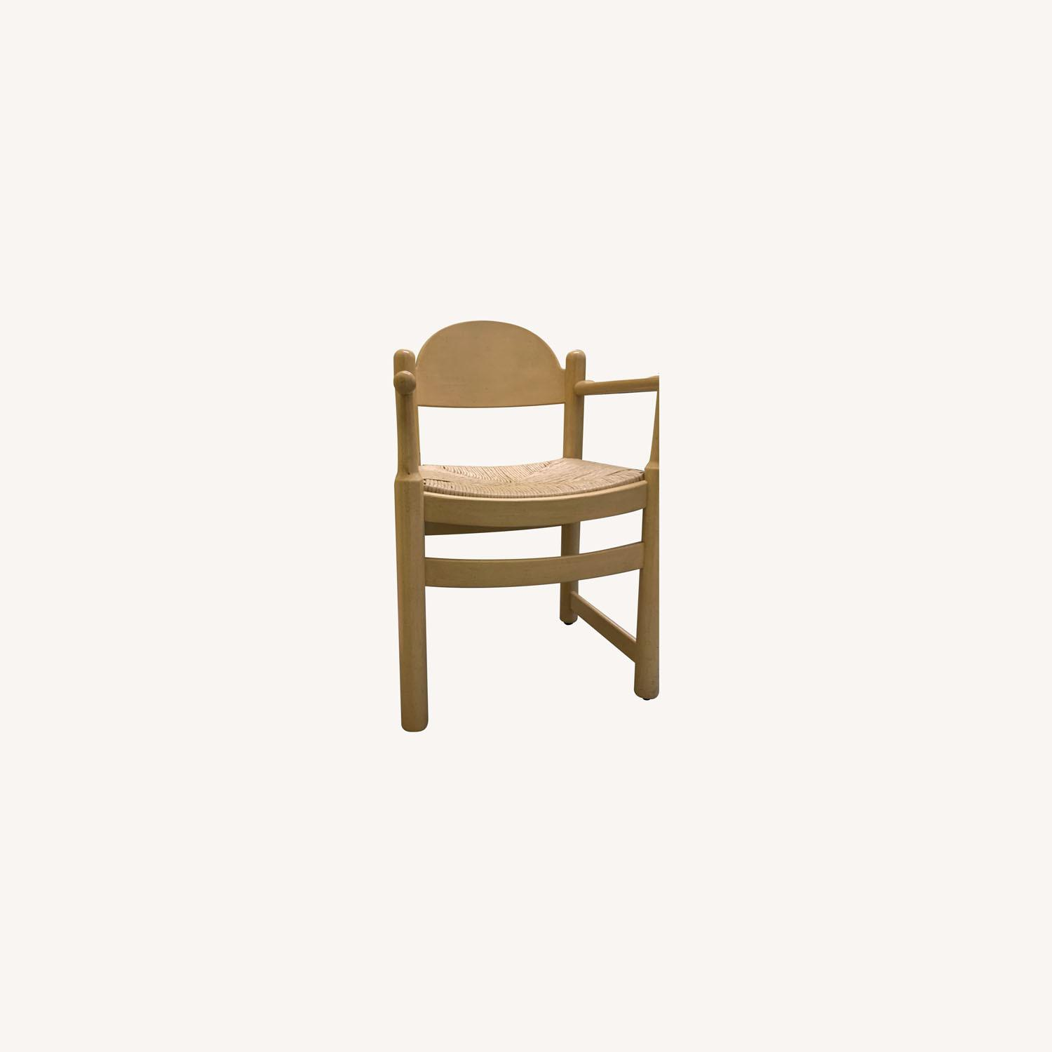 2 Blonde Wood Chairs with Rattan seat - image-0