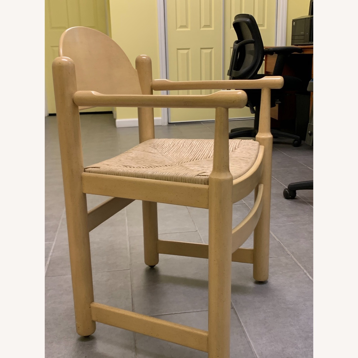 2 Blonde Wood Chairs with Rattan seat - image-3