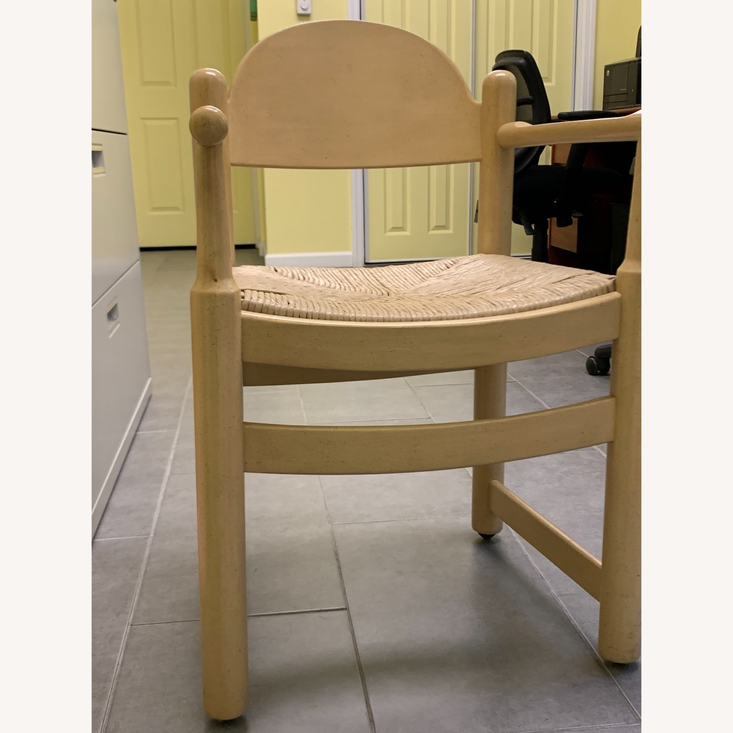 2 Blonde Wood Chairs with Rattan seat - image-1