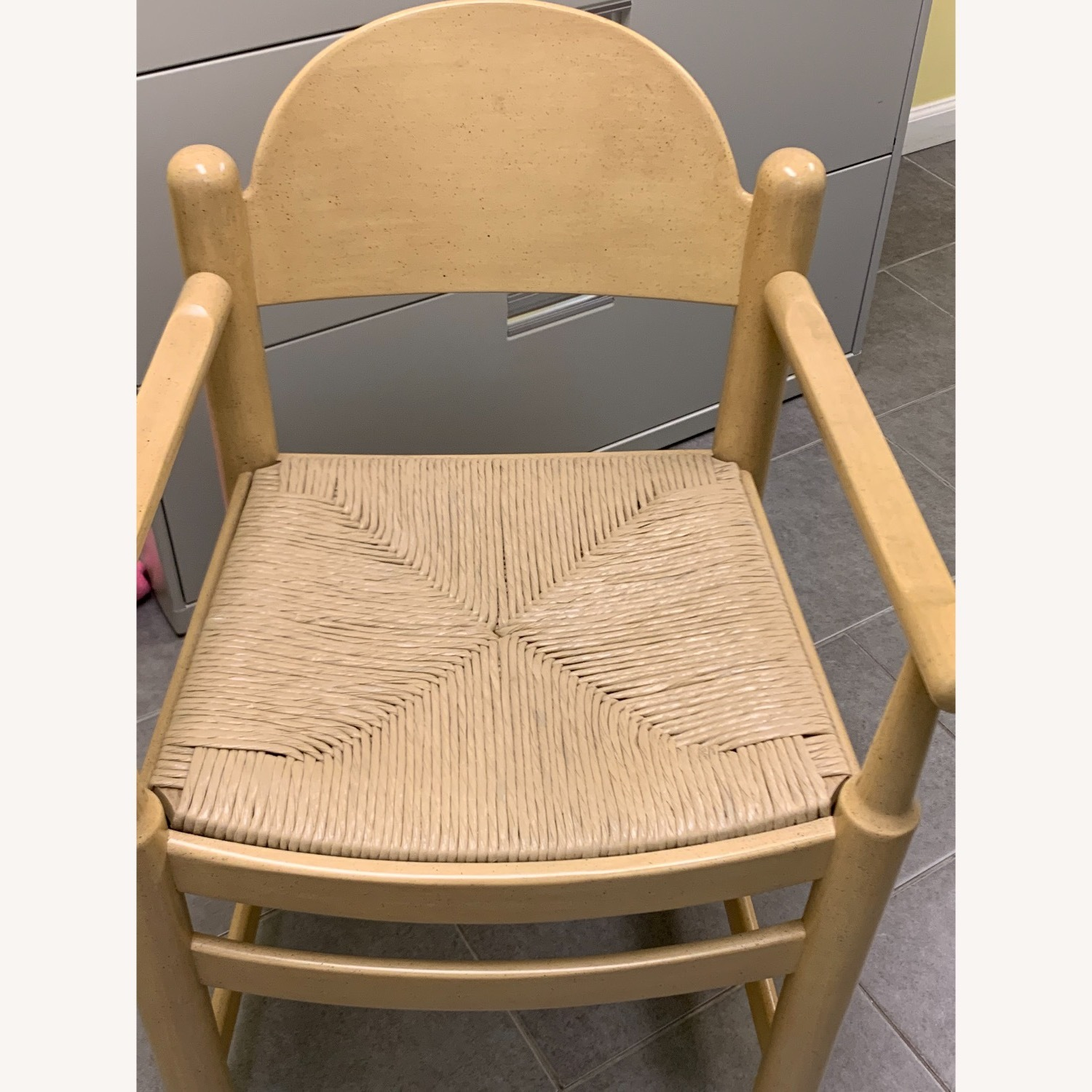 2 Blonde Wood Chairs with Rattan seat - image-2
