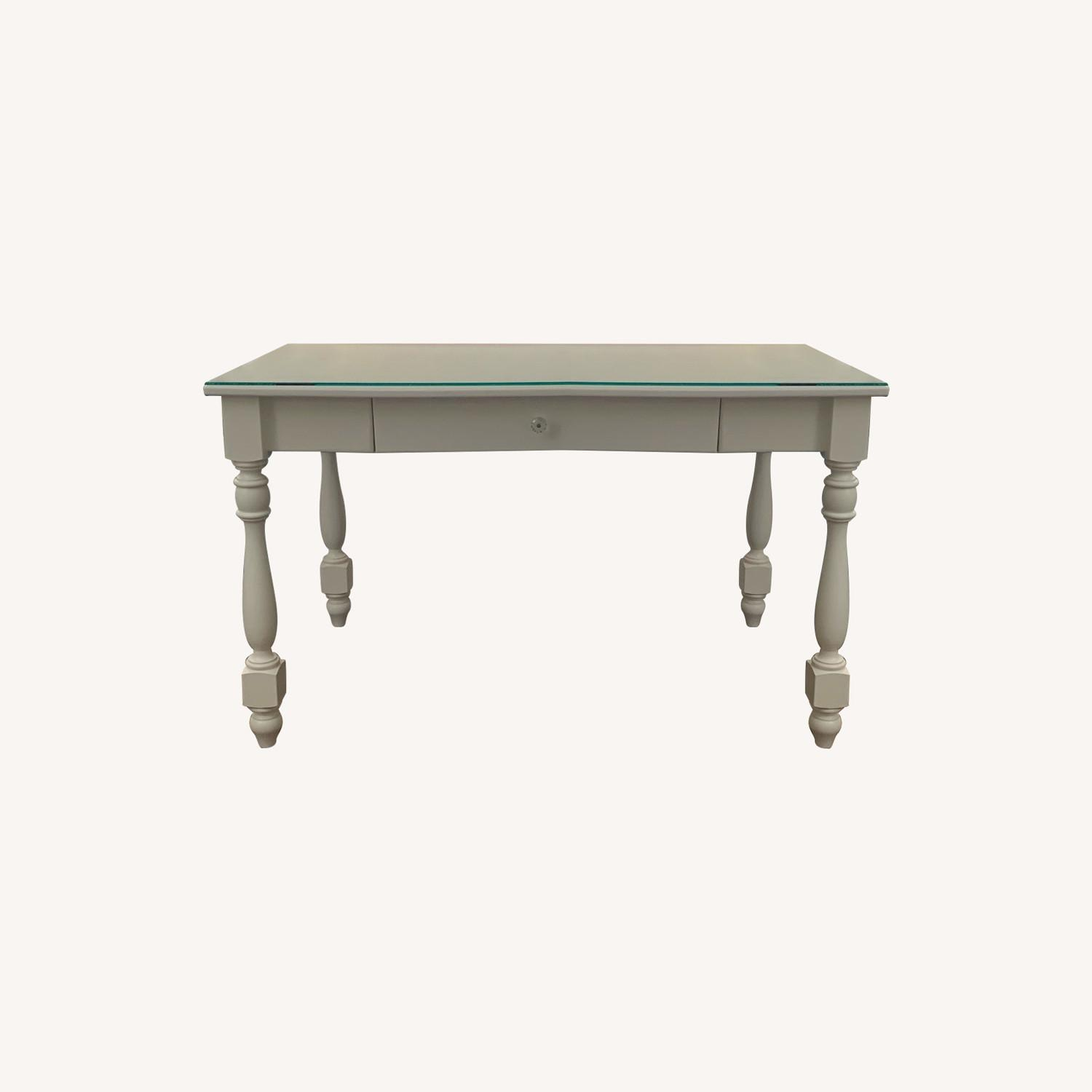 Ivory Colored Wood Desk/Side Table w/Glass Top - image-0