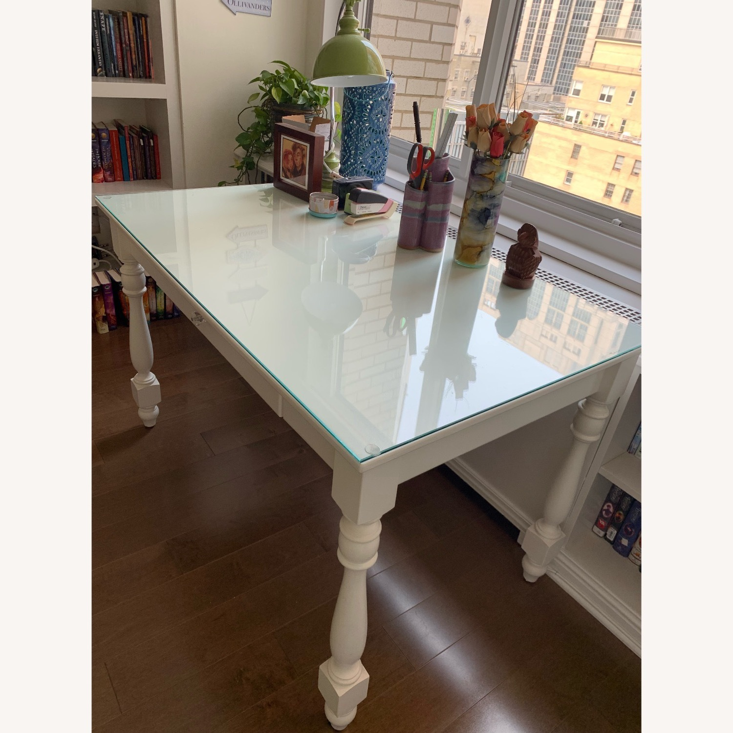 Ivory Colored Wood Desk/Side Table w/Glass Top - image-3